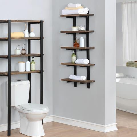 Carbon Loft Kenyon Metal and Solid Wood Bath 48-inch Wall Shelf