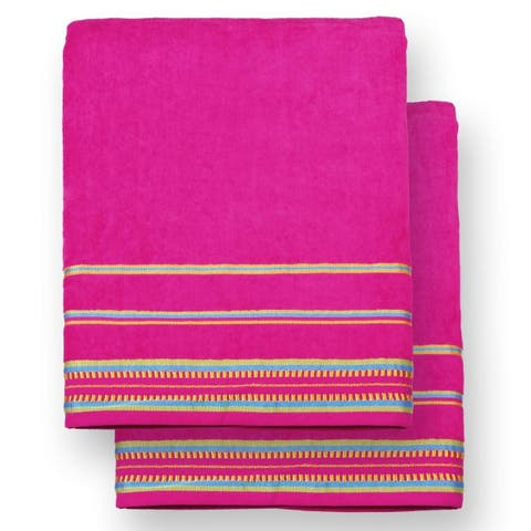 "Kaufman - Oversized 40"" X 70"" Solid Color Velour super soft Beach and Pool Towel Set of 2 pieces . Easy care, (Pink)"