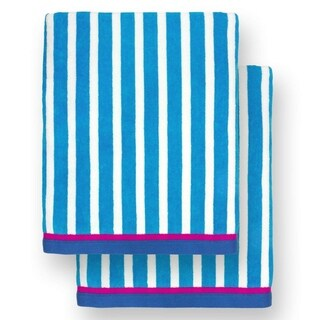 """Kaufman - Oversized 40"""" X 70"""" Stripe Color Velour Super Soft Beach and Pool Towel Set of 2 Pieces Easy Care, (Pacific Blue)"""