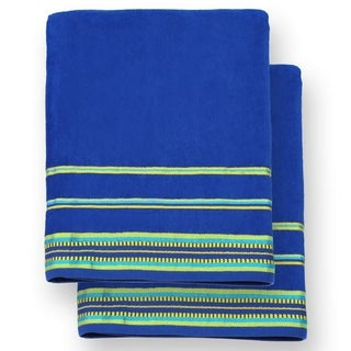 """Kaufman - Oversized 40"""" X 70"""" Solid Color Velour Super Soft Beach and Pool Towel Set of 2 Pieces Easy Care,(Cobalt)"""