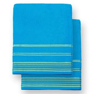 """Kaufman - Oversized 40"""" X 70"""" Solid Color Velour super soft Beach and Pool Towel Set of 2 pieces . Easy care, (Turquoise)"""