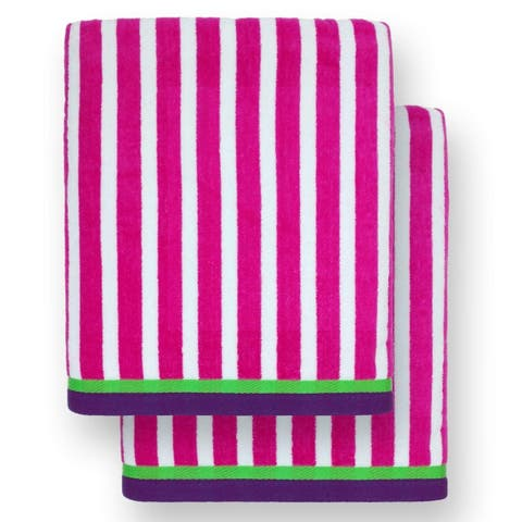 "Kaufman - Oversized 40"" X 70"" Stripe Color Velour super soft Beach and Pool Towel Set of 2 pieces . Easy care, (Pink)"