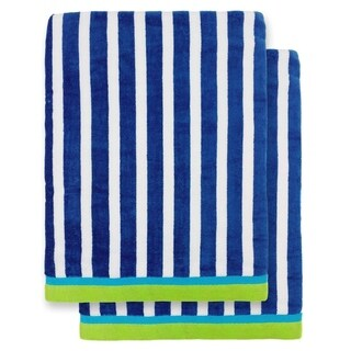 """Kaufman - Oversized 40"""" X 70"""" Stripe Color Velour Super Soft Beach and Pool Towel Set of 2 Pieces Easy Care, (Royal)"""