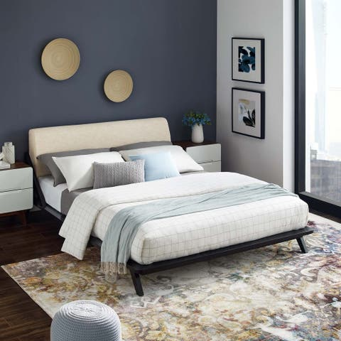 Luella Queen Upholstered Fabric Platform Bed