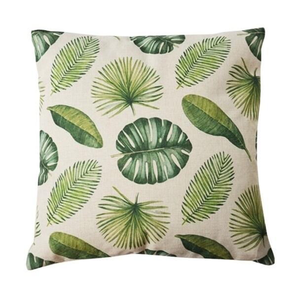 Adrien Lewis- Leaves Faux Linen Cushion