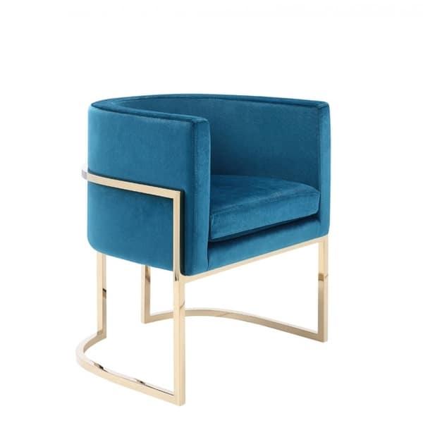 Shop Modrest Betsy Modern Blue Velvet Gold Dining Chair On Sale