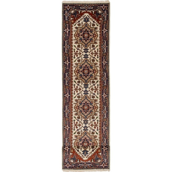 ECARPETGALLERY Hand-knotted Serapi Heritage Cream Wool Rug - 2'7 x 11'11