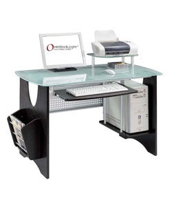 Espresso Frosted Tempered Glass Computer Desk