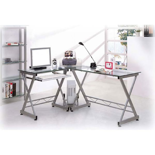 Deluxe Tempered Gl L Shaped Computer Desk
