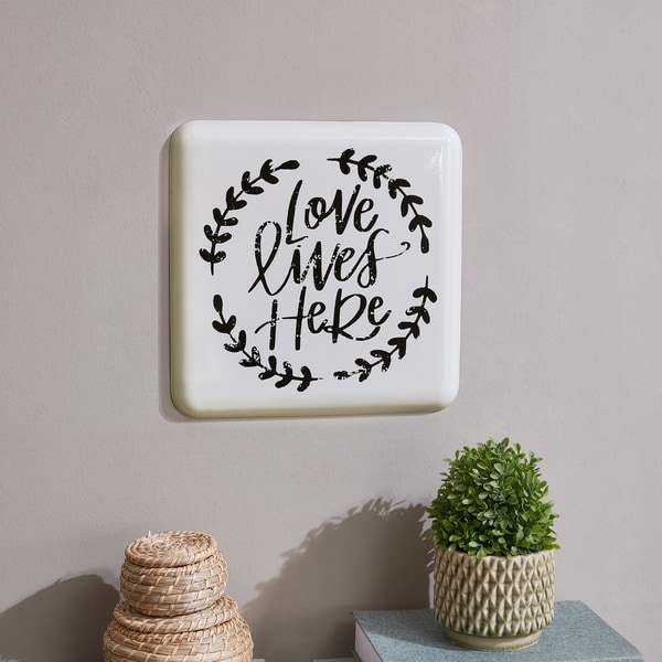 Danya B. Farmhouse Home Decor Metal Wall Art- Love Lives Here