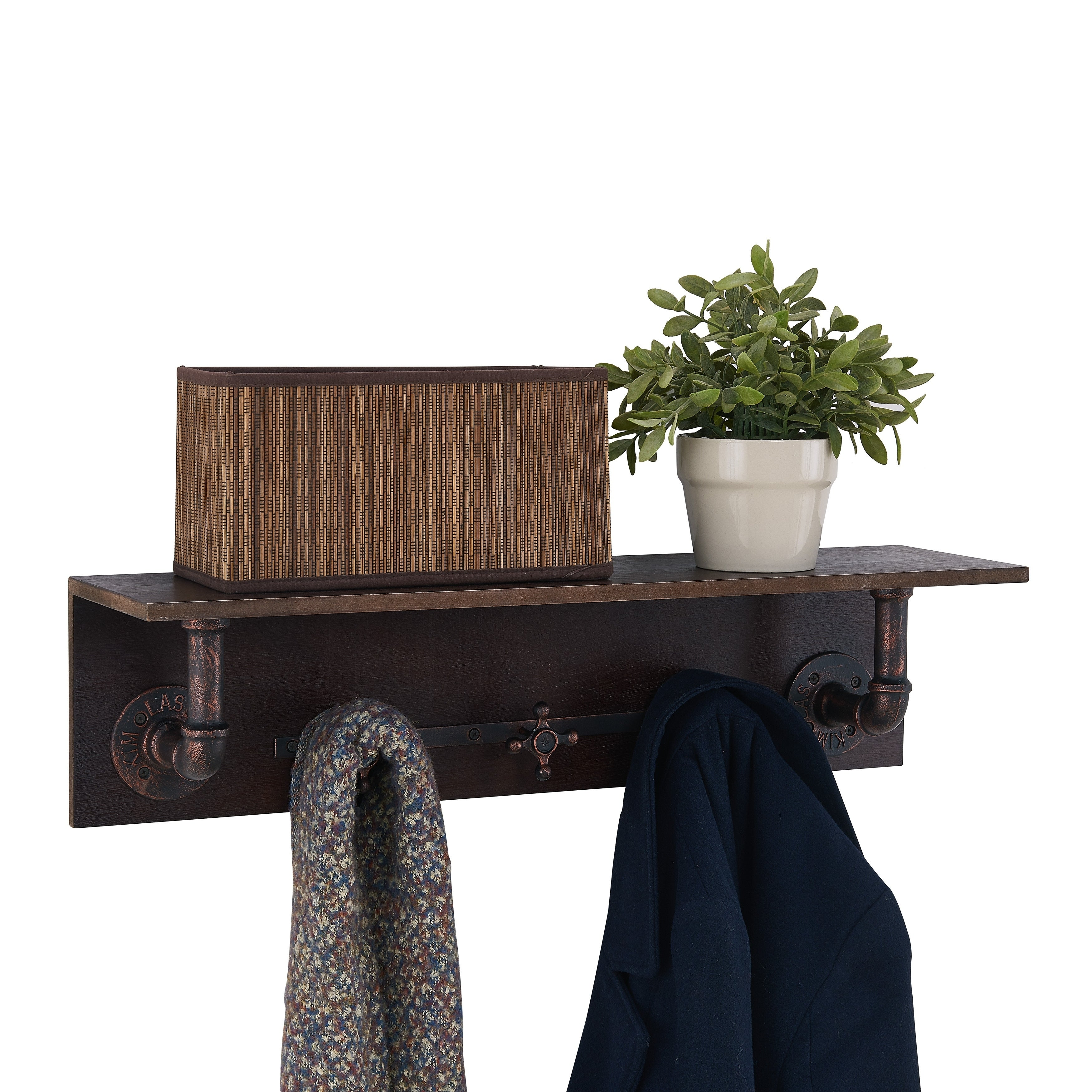 Carbon Loft Habersberger Wall Mount Wooden Coat Rack With Pipes And Water Faucet Hooks