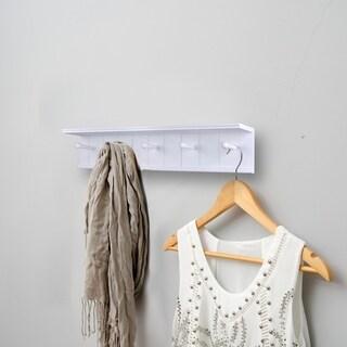 "Danya B. 24"" Wall Mount Wooden Coat Rack with 5 Hanger Hooks and Display Shelf - White"