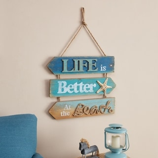 Danya B. Hanging Beach Sign-  Life is Better at the Beach