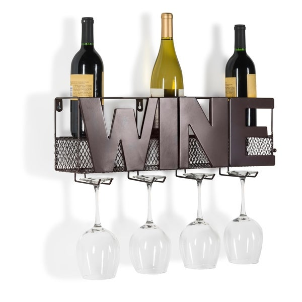Danya B. Decorative Wall Mount Metal Wine Bottle and Long Stem Glass Rack