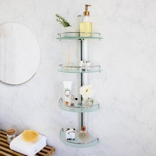 Danya B. Bathroom Decor - Floating 4-Tier Adjustable Frosted Glass Wall Shelves with Railings on Aluminum Bar