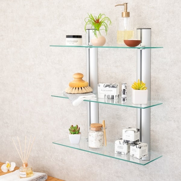 Danya B. Bathroom Shelving Unit - Decorative Wall-Mount 3-Tier Adjustable Glass Wall Shelves on Aluminum Bars. Opens flyout.