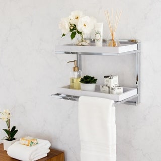 Danya B. Wall Mount 2-Tier Shelving Unit with Towel Rack