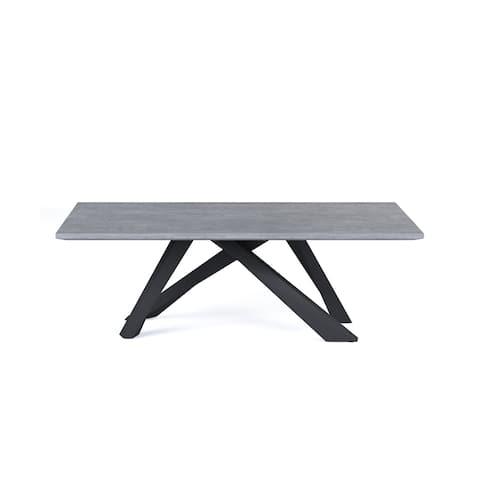 "B-Modern Amici Dining Table - Grey Oak & Black Steel - 86.5""w x 39.5""d x 29.5""h - 86.5""w x 39.5""d x 29.5""h"