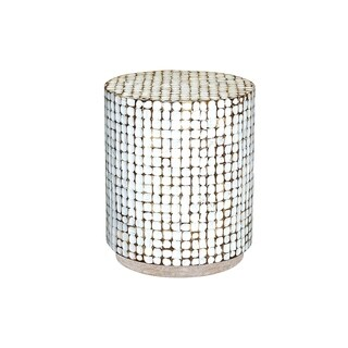 East at Main Simon Coconut Shell/Mosaic Tile Round End Table