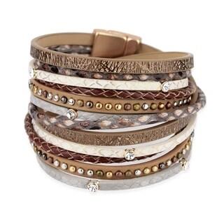 "Saachi Gladiator Double Wrap Studded Leather Bracelet - 14"" x 2"""