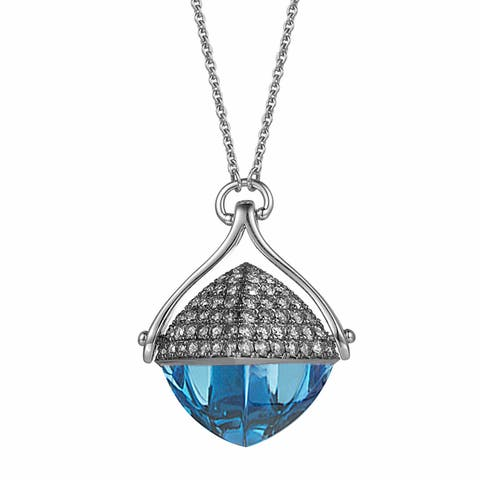 Blue Topaz and Diamond 28-inch Necklace