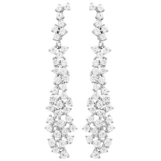 Luxiro Sterling Silver Scattered White Cubic Zirconia Bridal Earrings