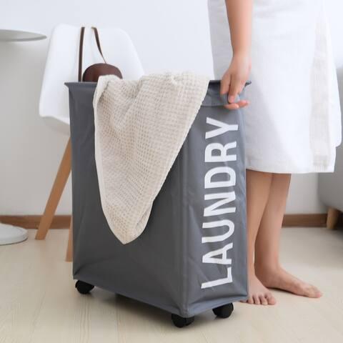 Porch & Den Ainslie Grey Folding Laundry Hamper on Wheels