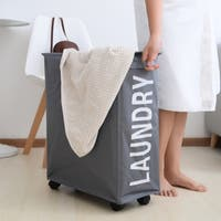 Porch & Den Ainslie Grey Folding Laundry Hamper on Wheels