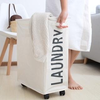 Porch & Den Ainslie Cream Folding Laundry Hamper on Wheels