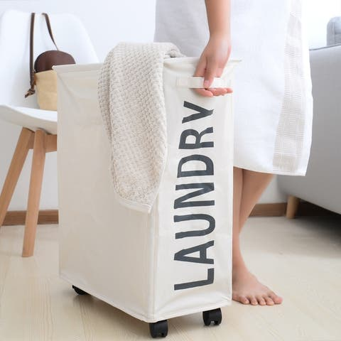 Porch & Den Ainslie Cream Folding Laundry Hamper on Wheels