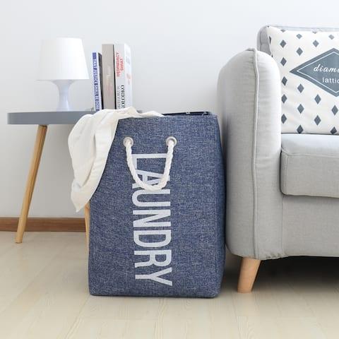 Danya B. Nautical/Beach Large Laundry Hamper with Rope Handles- Blue