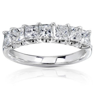 Annello by Kobelli 14k White Gold 1ct TDW Princess-cut Diamond Band (H-I, I1-I2)