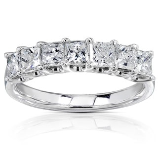 Annello 14k White Gold 1ct TDW Princess-cut Diamond Band
