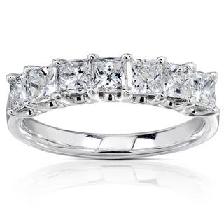 Annello 14k White Gold 1ct TDW Princess Cut Diamond Band