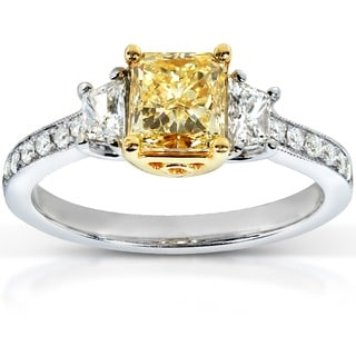 Annello by Kobelli 18k Two-Tone Gold 1 3/4ct TDW Certified Yellow Diamond Ring