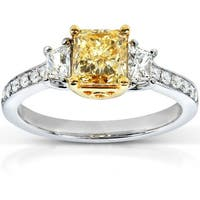 Annello by Kobelli 18k Two-Tone Gold 1 3/4ct TDW Certified Yellow and White 3-Stone Diamond Ring