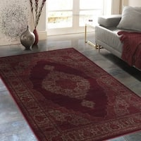"""Allstar Rugs Distressed Red and Burgundy Rectangular Accent Area Rug with Mocha Persian Design - 4' 11"""" x 7' 0"""""""