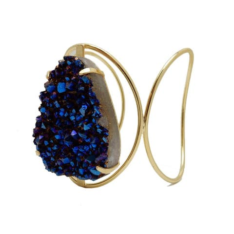 Mystic Druzy Cluster on Fancy Gold Bracelet