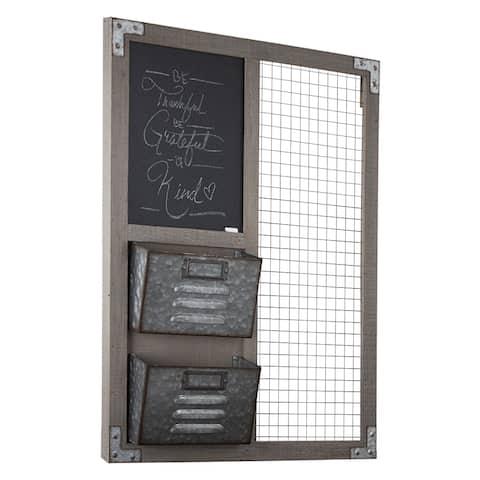 American Art Decor Wood Metal Organizer w/ Chalkboard & Storage Bins