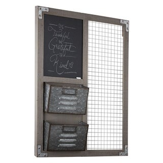 American Art Decor Wood Metal Organizer w/ Chalkboard & Storage Bins