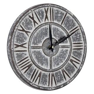 "American Art Decor Whitewashed Metal Hanging Farmhouse Clock (15"")"