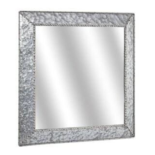 "American Art Decor Galvanized Square Metal Mirror (22"") - Grey - A/N"