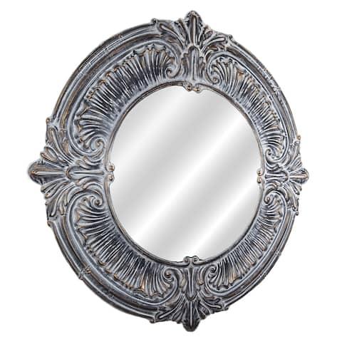 American Art Decor Baroque Style Metal Framed Wall Vanity Mirror - Grey/Silver - A/N