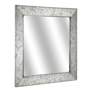 American Art Decor Galvanized Square Metal Mirror 22 - Grey - A/N