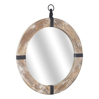 American Art Decor Wood and Metal Porthole Mirror - Brown - A/N