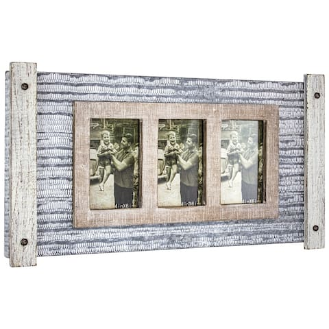 American Art Decor Rustic Wood and Metal Hanging 3 Picture Photo Frame