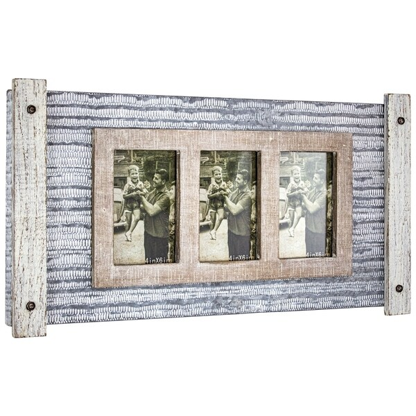 American Art Decor Rustic Wood and Metal Hanging 3 Picture Photo Frame. Opens flyout.