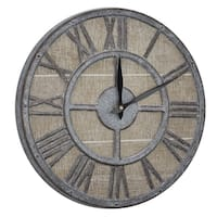 "American Art Decor Whitewashed Wood and Metal Farmhouse Clock (15"")"