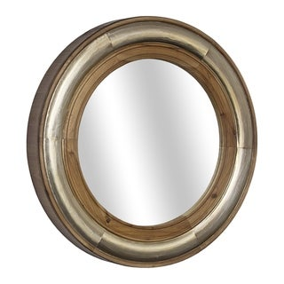 "American Art Decor Wood and Metal Framed Mirror (23"") - Brown - A/N"