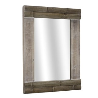 American Art Decor Rustic Bamboo Wood Hanging Wall Vanity Mirror - Brown - A/N